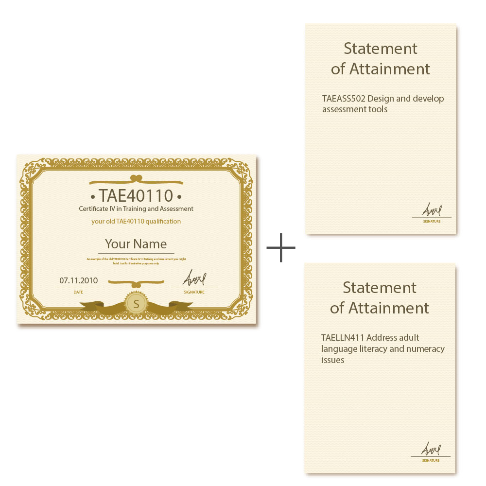 Certificate TAE40110 currency example mockup