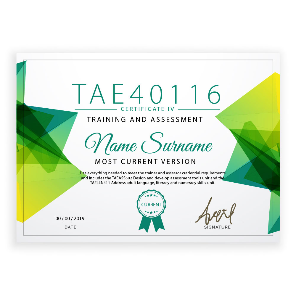 new certificate TAE40116 example